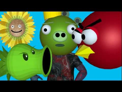 PLANTS VS. ZOMBIES vs. ANGRY BIRDS ☺ 3D animated Mashup - FunVideoTV -Style ;-))
