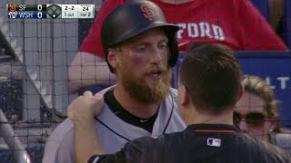 SF@WSH: Pence fouls ball off cheek, stays in