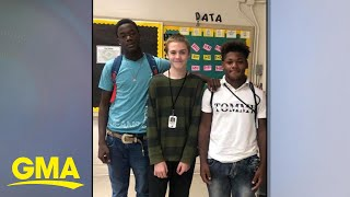 High school football players' gifts to freshman who was bullied l GMA