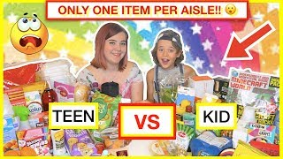 FOOD SHOPPING CHALLENGE 😀 ONLY ONE ITEM PER AISLE 🛒 Kid vs Teen