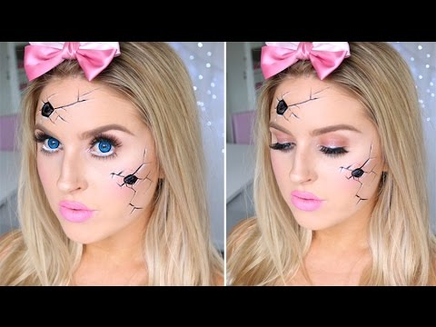Cracked Broken Doll Tutorial ♡ Pretty & Easy Halloween Makeup!
