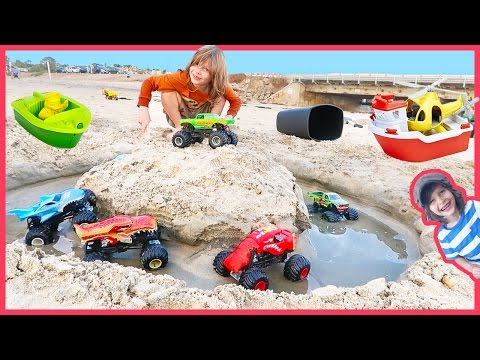 Monster Trucks Battle for Green Toys Rescue Boat and Helicopter