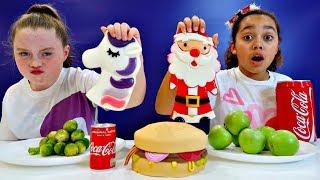Real Food VS Gummy Food! Challenge!! Christmas Special
