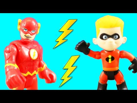 Incredibles 2 Dash & Imaginext Flash Speedsters Race To The Rescue Part 2 + Elastigirl & Jack Jack