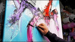 AMAZING Abstract Painting Acrylics | using brush, knife | Lifter | John Beckley