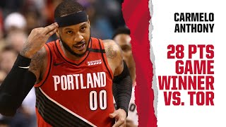 Carmelo Anthony (28 PTS, 7 REB) Highlights | Trail Blazers at Raptors