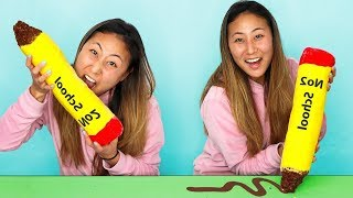 WORLDS BIGGEST EDIBLE PENCIL!! (BACK TO SCHOOL ✏️HACKS)