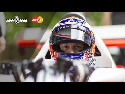 F1 Champ Jenson Button Arrives At FOS In Lauda's Legendary McLaren