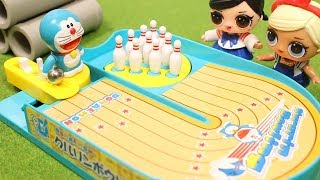 Doraemon Bowling with LOL Surprise Dolls | ドラえもん クルリンボーリング おもちゃ  fromegg