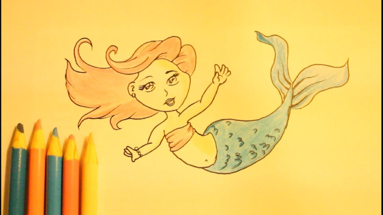... Draw A Mermaid|Step By Step Slowly|For Beginners|Tail|Easy - YouTube