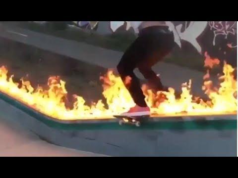 INSTABLAST! -  Boardslide On Fire?! Blind Skateboarding! Kickflip LA River, Matrix Neo Comply Flip