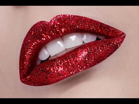 Red Lips Glitter Makeup Tutorial