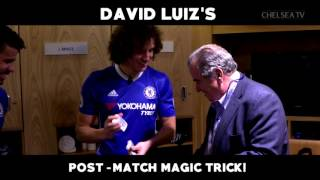 FOOTBALL TRICKS: David Luiz shows his teammates some magic tricks
