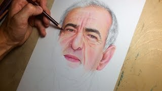 Colored pencil drawing of a man. (Time-lapse drawing video)