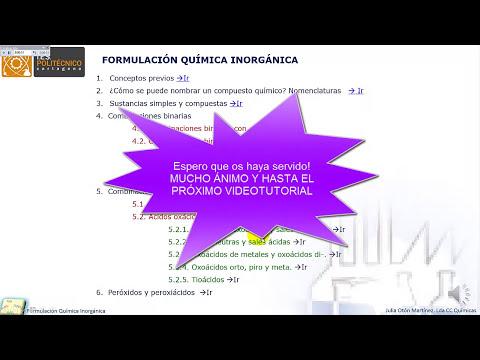 FORMULACIÓN INORGÁNICA - 2 - COMPUESTOS BINARIOS