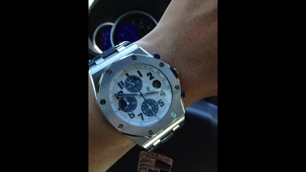 Audemars piguet royal oak offshore chronograph 42mm watch navy hornback strap ap roo youtube for Royal oak offshore navy
