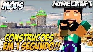 Minecraft - CONSTRUA CASAS EM 1 SEGUNDO!! Mod Showcase Instant Block