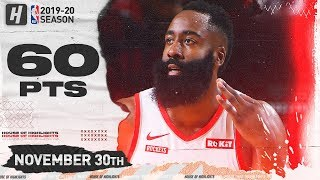 James Harden EPIC 60 Points in 3 Qtrs Full Highlights | Hawks vs Rockets | November 30, 2019