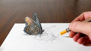 Drawing a Butterfly - Cool 3D Trick Art on Paper
