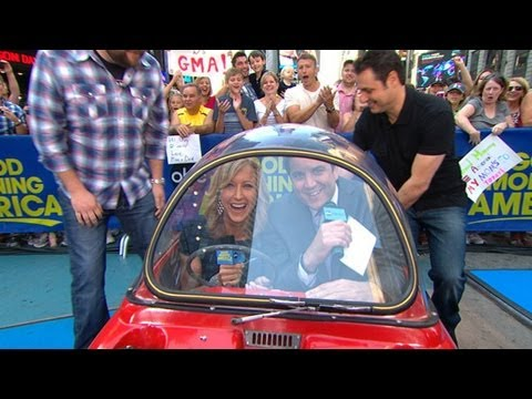 'Top Gear' Hosts Stuff Josh and Lara Inside World's Smallest Car in Times Square