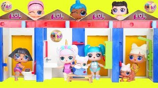 LOL Surprise Dolls Lil Sisters in Playmobil Pool Dress Room Police Punk - Confetti Pop Toy Video