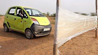 100 Layers Of Plastic Foil Wall Vs Car - Will It Break ?