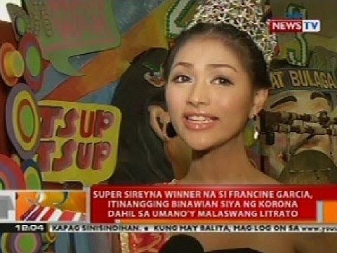 BT: Super Sireyna winner Francine Garcia, itinangging binawian ng korona