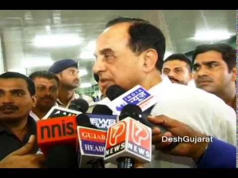Dr. Subramanian Swamy speaks to media in Gujarat during new CM's swearing-in function