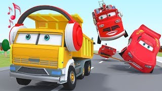 Cartoon Fire Truck and Trucks City with McQueen Car Toys Songs for Children