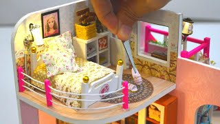 DIY MINIATURE DOLLHOUSE - BARBIE DREAM HOUSE BEDROOM DECOR with GOLF COURSE