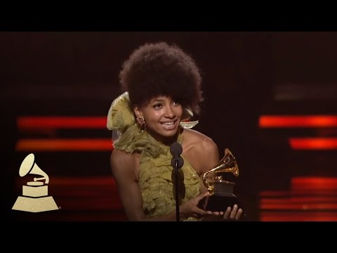 Esperanza Spalding accepting the GRAMMY for Best New Artist at the 53rd GRAMMY Awards
