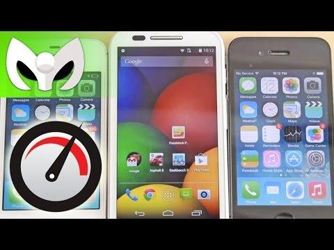 Moto E vs iPhone 4s, iPhone 4 (VELOCIDAD)