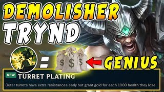 Top Demolish Tryndamere New Tower Plating Early 1250 Gold The Rich Split Pusher