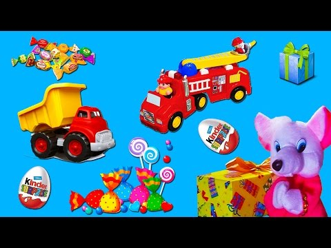 Surprise toys for boys. chocolate eggs. cars. firetrack. angry birds. kinder surprise.