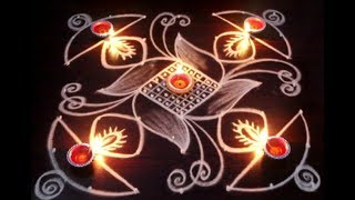 Diwali 2017 - How To Draw Simple Creative Deepam Rangoli Designs - Diwali Kolam Designs   Muggulu