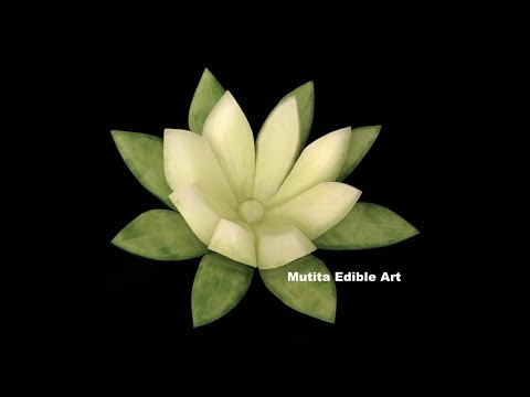 Cucumber Lily Flower Design - Lesson 24 - Mutita Thai Art Fruit And Vegetable Carving video