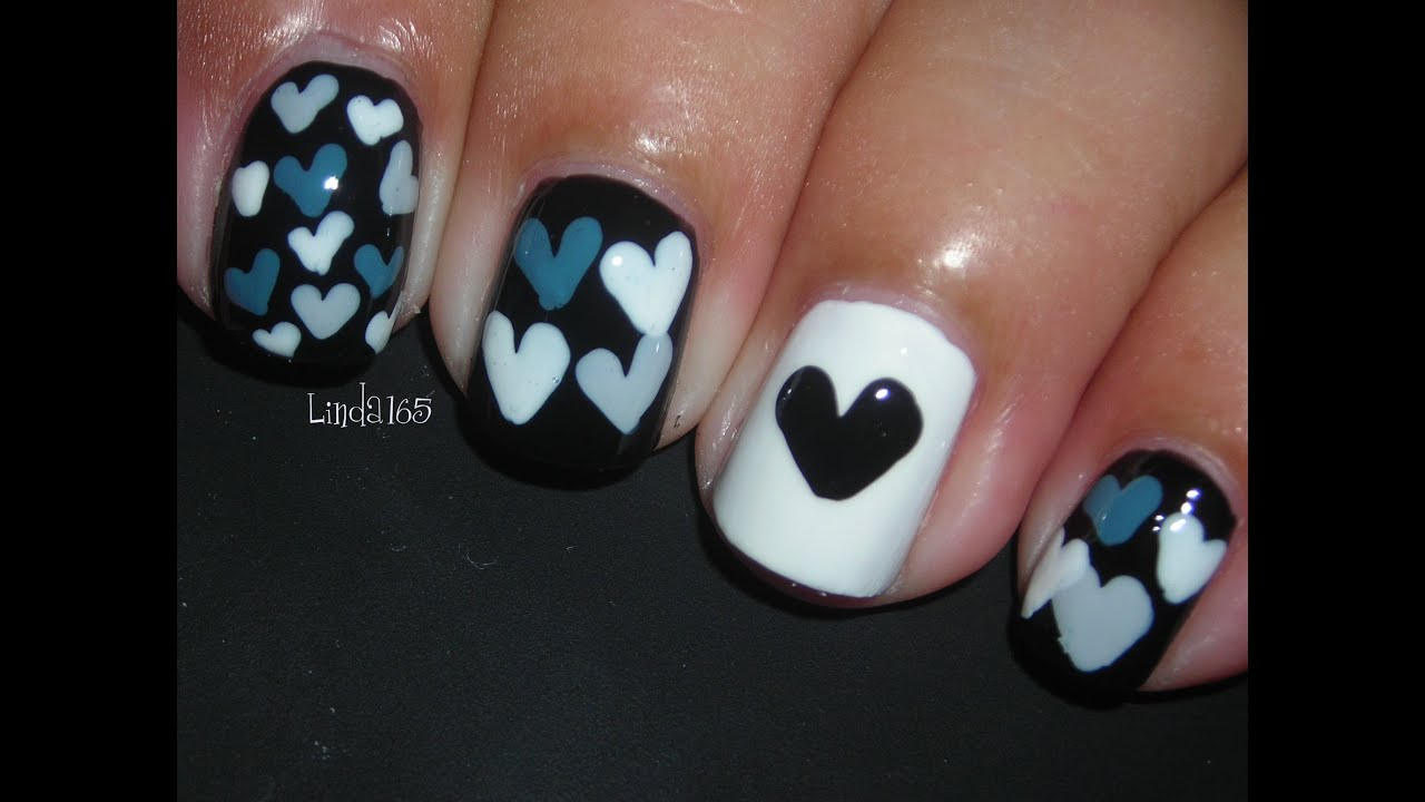 Nail art hearts inspired by mkmyday nails decoracion - Decoracion de unas colombianas ...