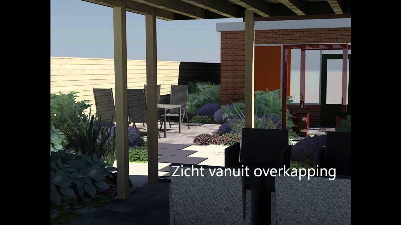 3d tuinontwerp achtertuin grote tegels en overkapping youtube - Tuinontwerp ...