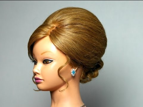 Элегантная вечерняя прическа для длинных волос. Elegant hairstyle for long hair