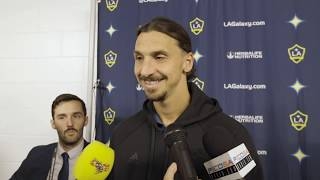 Zlatan Ibrahimovic speaks after the LA Galaxy's MLS Cup Playoffs win over Minnesota United