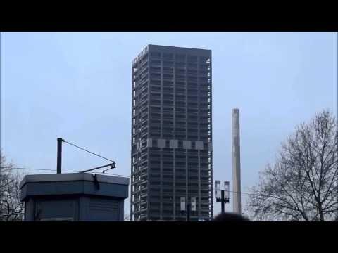 Взрыв 116-метрового небоскреба в Германии Франкфурт