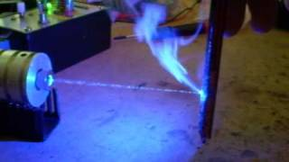 1W 445nm Blue Laser Burning Tests