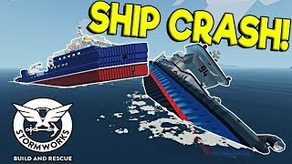 SHIP CRASH SINKING SHIP SURVIVAL! - Stormworks: Build and Rescue Update Gameplay