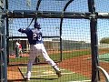 Julio Borbon takes batting practice