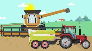 Farm work - Combine Harvester and Tractor They work hard | Fairy tale about Farmers for Kids