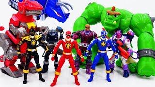 Power Rangers & Marvel Avengers Toys Pretend Play   Super Hero Zords vs Darkseid Giant VIllains