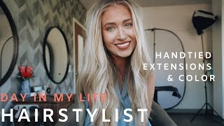DAY IN MY LIFE VLOG - HAIRSTYLIST// A DAY BEHIND THE CHAIR // HABIT HANDTIED EXTENSIONS & COLOR