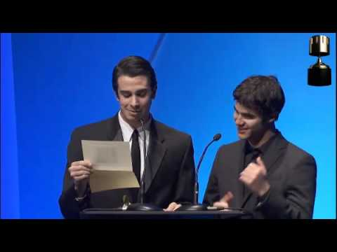 Darren Criss and Joey Richter presenting at the Annie Awards