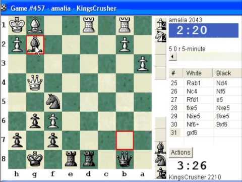 Chessworld.net : Blitz #287 vs. amalia (2043) - English Opening : symmetrical variation (A33)