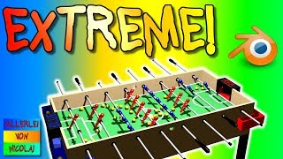 TABLE FOOTBALL EXTREME WITH 63 BALLS! - Blender Animation - Tischkicker - 3D Animation [60 fps]